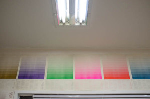 Printed Risograph Ink samples in the Corners Design Studio in Seoul, South Korea.